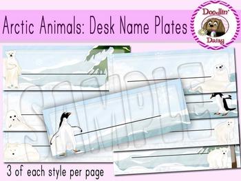 Arctic Animals: Desk Name Plates