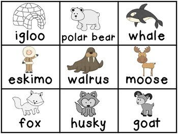 Arctic Animals ELA 6 Centers and Easy Print Papers