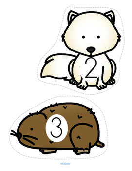 Arctic Animals Counting 0-20 for Centers and Group Games FREE
