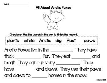 Arctic Animals Fact Sheet and Activities