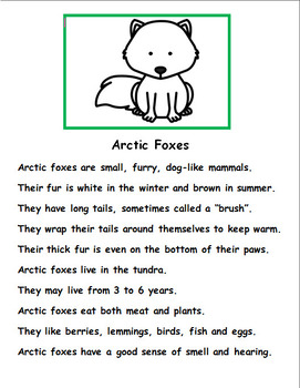 Arctic Animals:  Fact Stories and Related Activities
