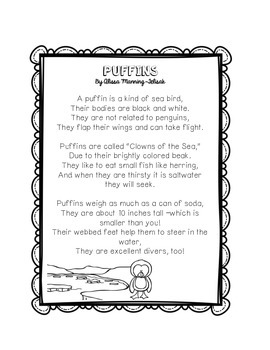 Arctic Animals Fluency Building Poems Freebie