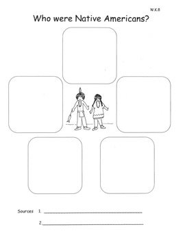Pilgrims and Native Americans Graphic Organizers Informational Text W.K.8