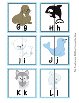 Arctic Animals Letter Match Puzzles