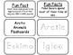 Arctic Animals Picture Word Flash Cards. Preschool flash cards for children.