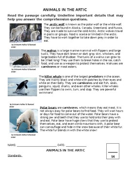 Arctic Animals Study Guide and Assessment