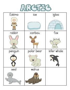 Arctic Animals Word Wall