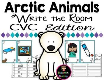 Arctic Animals Write the Room - CVC Words Edition