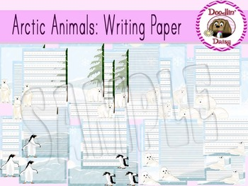 Arctic Animals: Writing Paper (Blank, Lined, Primary Lined)