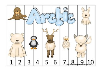 Arctic Animals themed 1-10 Number Sequence Puzzle Game. Printable Preschool