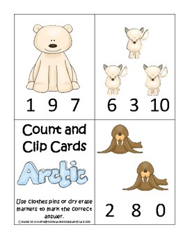 Arctic Animals themed Count and Clip Game.  Printable Preschool Game