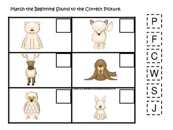 Arctic Animals themed Match the Beginning Sound Game. Printable Preschool Ga