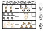 Arctic Animals themed Match the Number Game. Printable Preschool Ga