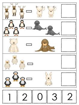 Arctic Animals themed Math Subtraction Game. Printable Preschool Ga