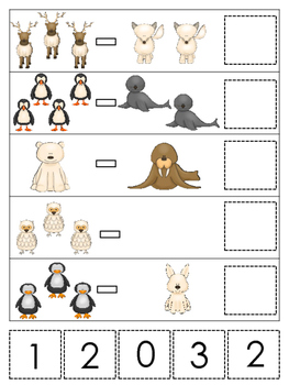 Arctic Animals themed Math Subtraction preschool learning game.  Daycare math.