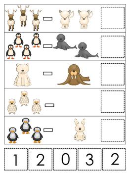 Arctic Animals themed Math Subtraction preschool learning