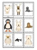 Arctic Animals themed Memory Match Game. Printable Preschool Game