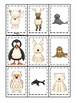 Arctic Animals themed Memory Match Game. Printable Preschool Game