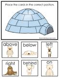 Arctic Animals themed Positional Game.  Printable Preschool Curriculum Game