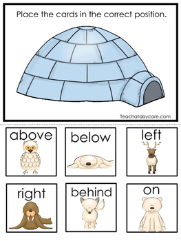 Arctic Animals themed Positional Game.  Printable Preschool Curriculum Game