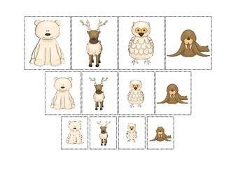 Arctic Animals themed Size Sorting. Printable Preschool Game