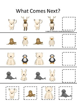 Arctic Animals themed What Comes Next. Printable Preschool Game