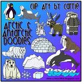 Arctic Antarctic Habitat Doodles digital clip art (BW and color PNG)