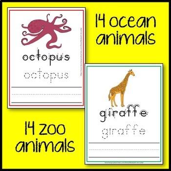 Animal Trace and Write Mat (arctic, farm, ocean, woodla, zoo animals) Bundle