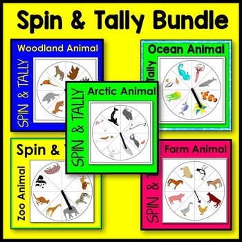 Animal Spin and Tally BUNDLE (arctic, farm, ocean, woodland, zoo animals)