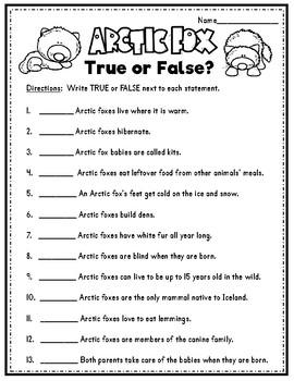 Arctic Fox Literacy Unit