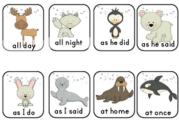 Arctic Freeze Dolch Sight Word Phrases Game