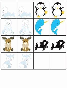 Arctic Friends Matching Mats- Math Center Activity Printable