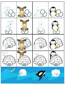 Arctic Friends Positional Sorting Mats- Math Center Activity Printable