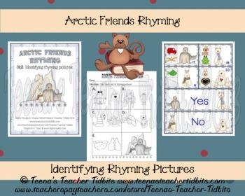 Arctic Friends Rhyming Pictures Preschool Literacy Center FREEBIE
