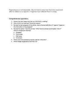 Arctic Ice article and comprehension questions