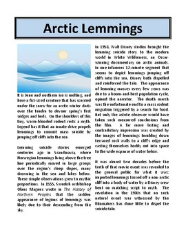 Arctic Lemmings - Reading Comprehension and Substitute Plan