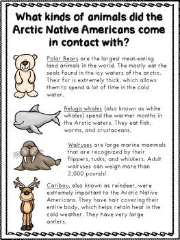 Arctic Native Americans Informational Pages (Inuit, Aleut, Tlingit)