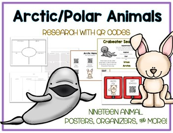 Arctic Polar - Animal Research w QR Codes, Posters, Organizer - 18 Pack