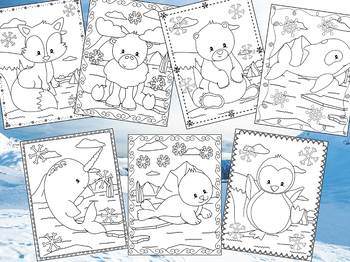 Arctic Polar Friends- The Crayon Crowd Coloring Pages, Animals