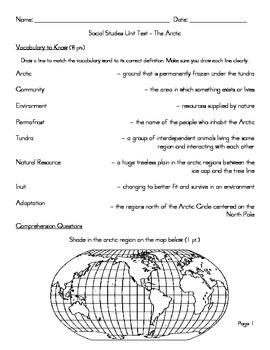 Arctic Region Unit - Unit Test / Study Guide / Answer Key
