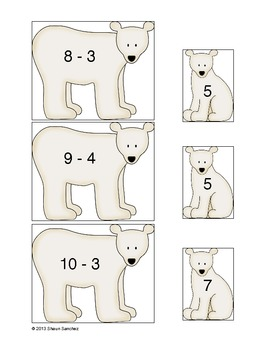 Arctic Subtraction- Subtracting Within 20 Center (Common Core Aligned)