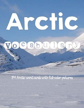 Arctic Vocabulary word wall, word center cards - 24 cards