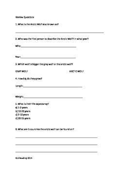 Arctic Wolf - Review Article questions vocabulary writing word search