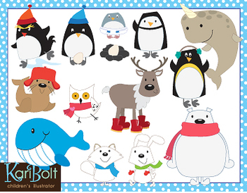 Arctic and Antarctic Animals Clip Art Bundle