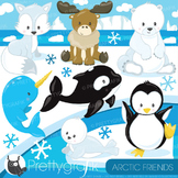 Arctic animals clipart commercial use, vector, digital - CL783