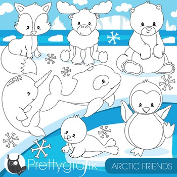 Arctic animals stamps commercial use, vector graphics, ima