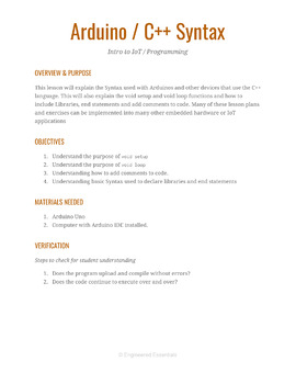 Arduino Syntax Lesson Plan and Worksheet S2