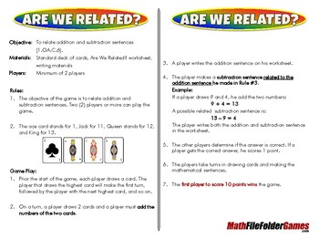 Are We Related - 1st Grade Math Game [CCSS 1.OA.C.6]