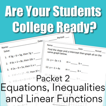 Are You College Ready? Packet 2 - Algebra {TSI/ACCUPLACER}