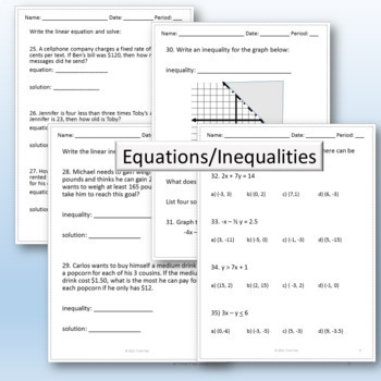 College Readiness Math Packet 2 - Algebra {TSI/ACCUPLACER ...